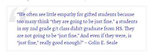 When teachers fail to understand what the label &quot; #giftED &quot; entails – more than academics; it can create an atmosphere in which GT students no longer feel they should be expected to show emotions that aren't extended to them.  #criticalthinking #gtchat<br>http://pic.twitter.com/BaYnm5wij1