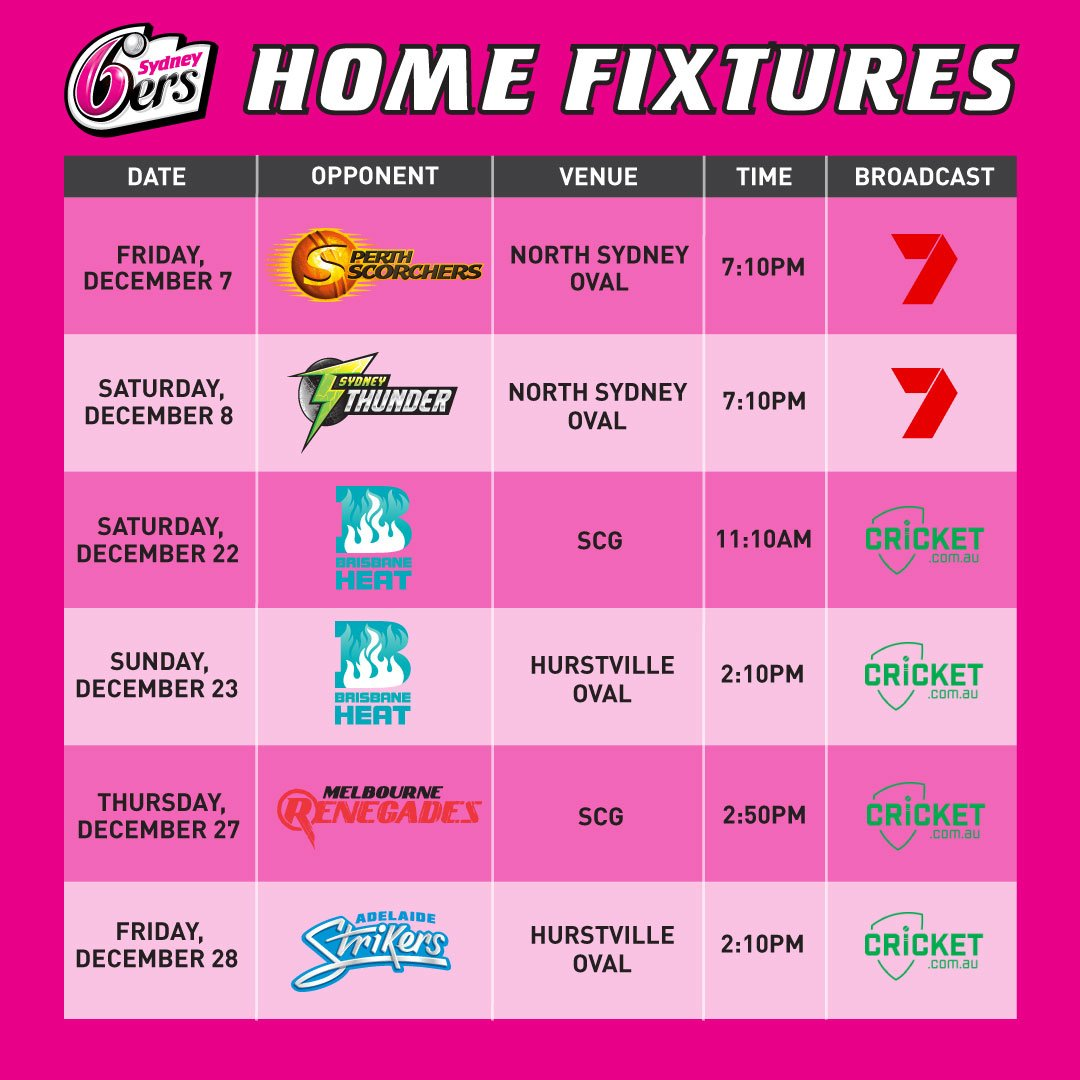 """Sydney Sixers WBBL On Twitter: """"📆 > Here It Is"""