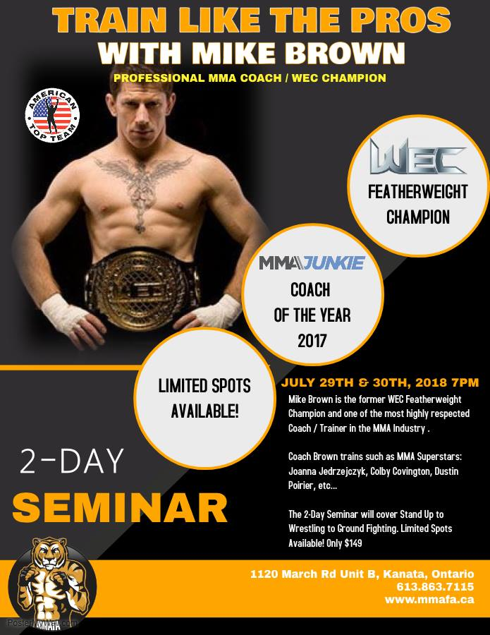 Attention Canadian freinds! Ill be conducting a 2-day MMA Seminar in Ottawa. Only 2 weeks away. Its an honor to work and share ideas with great martial arts coaches like Stephane DAmour. For more info checkout mmafa.ca .
