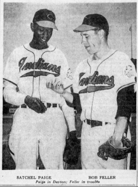A photo of Bob Feller and Satchel Paige, published 70 years ago today in The Dayton Herald. @nlbmprez<br>http://pic.twitter.com/kycRg0xFii