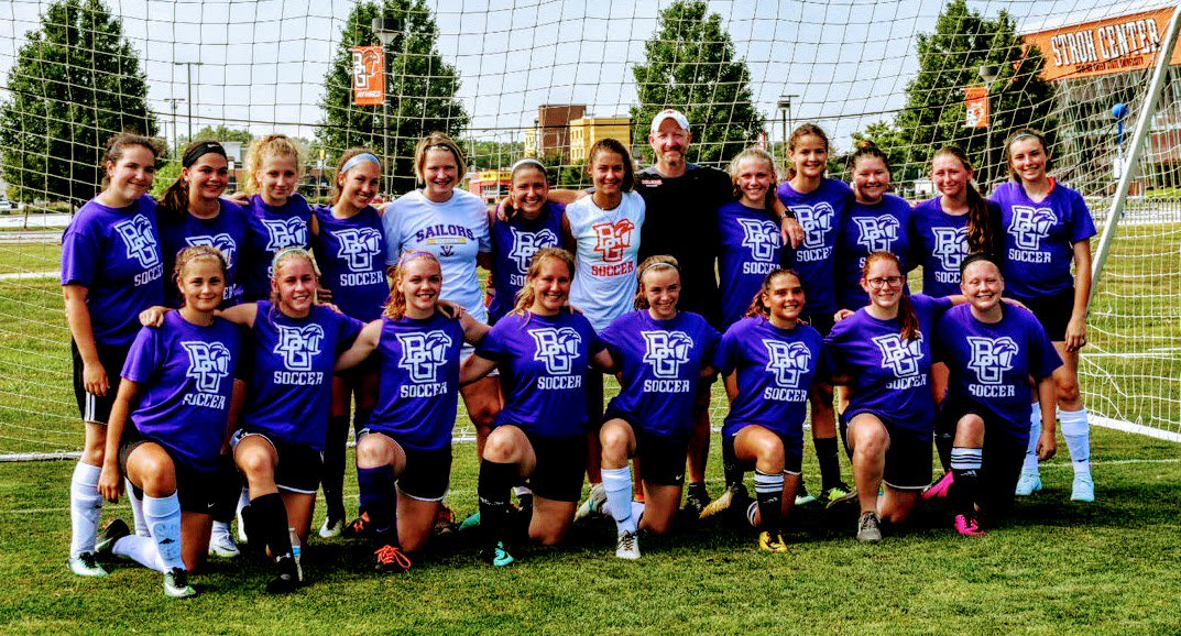 First class HS team soccer camp at @BGSUWSoccer for the Lady Sailors. Thanks to @Matt_BGSUWS @rorygiggzc4 @BernieComptonSP and especially @jimmywalker8200 for being top level soccer professionals.  The girls had an experience of a lifetime!  <br>http://pic.twitter.com/nmWfmyP7t8