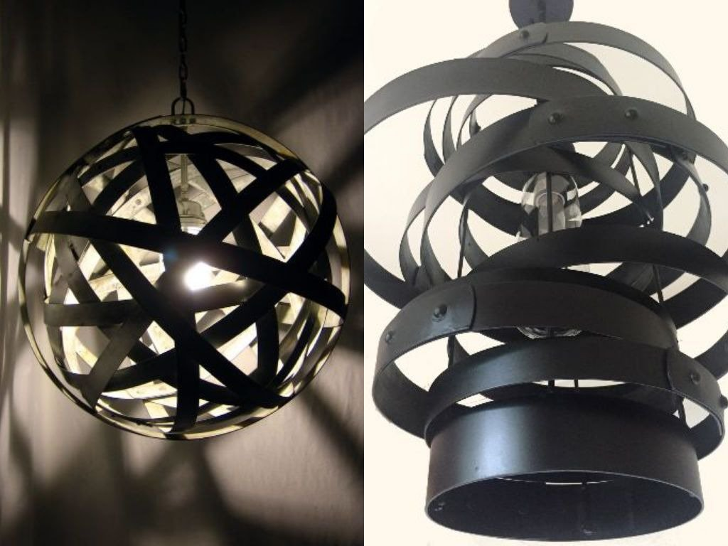 Vortex vs Orbits, both entirely made with recycled wine barrel metal hoops. I must confess...I do have a favorite..! ;)  http:// ow.ly/NA2230kXFS5  &nbsp;   #industrial #metal #winebarrelproducts #interiordesign #interiorarchitecture <br>http://pic.twitter.com/TZ1WLMwkcc