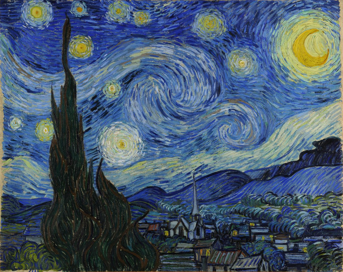 #VanGogh of the Day: The Starry Night, 1889. Oil on canvas, 73.7 x 92.1 cm. MoMA The Museum of Modern Art, New York. @MuseumModernArt <br>http://pic.twitter.com/8nY7mud7d6
