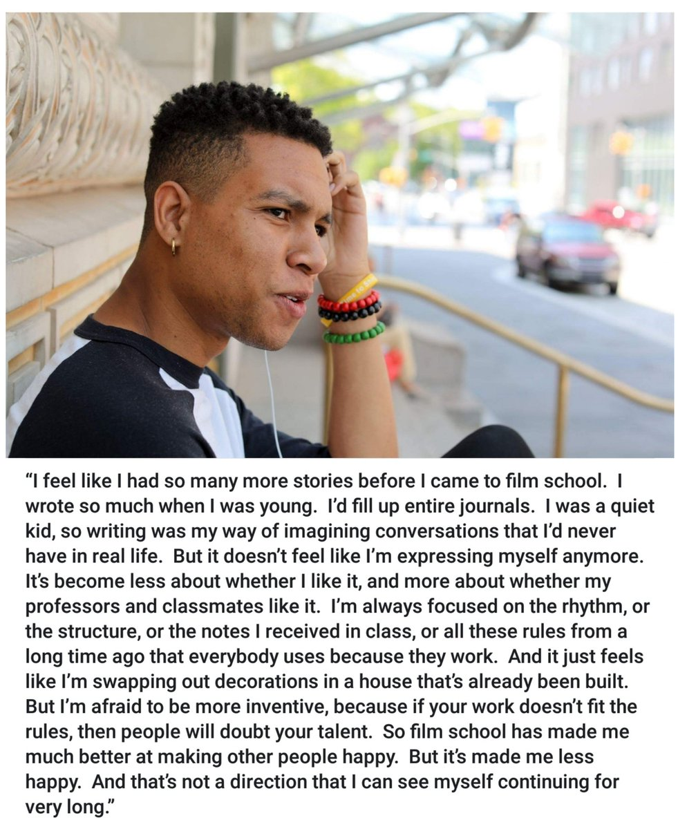 """""""I feel like I had so many more stories before I came to film school.  I wrote so much when I was young.  I'd fill up entire journals.  I was a quiet kid, so writing was my way of imagining conversations that I'd never have in real life.  But it doesn't feel like I'm.. &quot; <br>http://pic.twitter.com/l1l1Kpt9SW"""