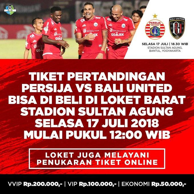 Yuk simak info pembelian tiket on the spot laga versus Bali United yang bisa dibeli Selasa (17/7) besok di Loket Barat Stadion Sultan Agung, Bantul. Mulai pukul WIB. Penuhkan SSA! #PersijaJakarta #PersijaSelamanya Photo