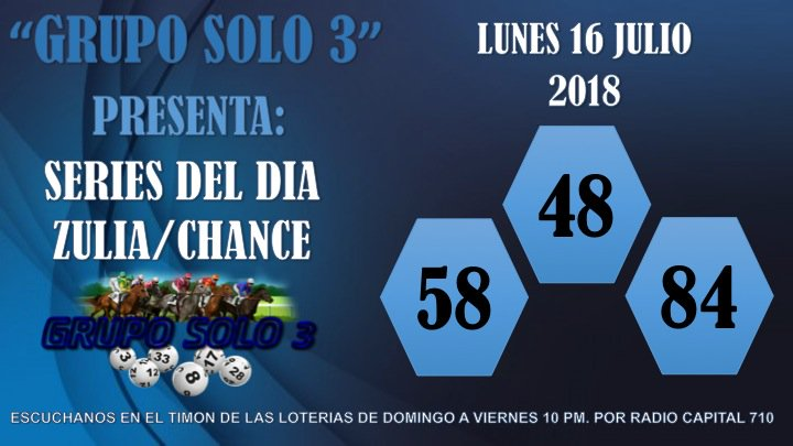 #LOTERIAS SERIES PROBABLES  @GRUPOSOLO3  #Zulia  #Chance  #LunesDeGanarSeguidores #16Julio #DaleRT<br>http://pic.twitter.com/KNsTux2SdI