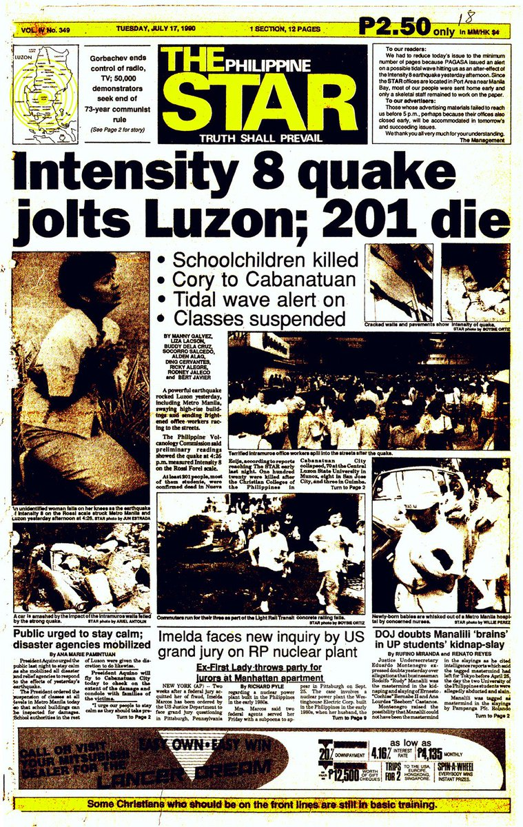 Today we remember the 45-second earthquake that changed the course of Luzon&#39;s history forever: July 16,1990 Magnitude 7.8 Luzon Earthquake <br>http://pic.twitter.com/EChAN0uyRJ