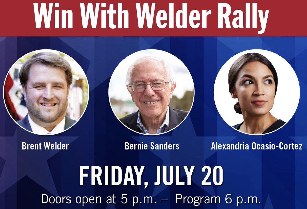 Who's excited about our #WinWithWelder rally with @BernieSanders and @Ocasio2018 in KCK? Get your FREE ticket at  http:// WinWithWelder.com  &nbsp;  !<br>http://pic.twitter.com/9S5Azk4oT0