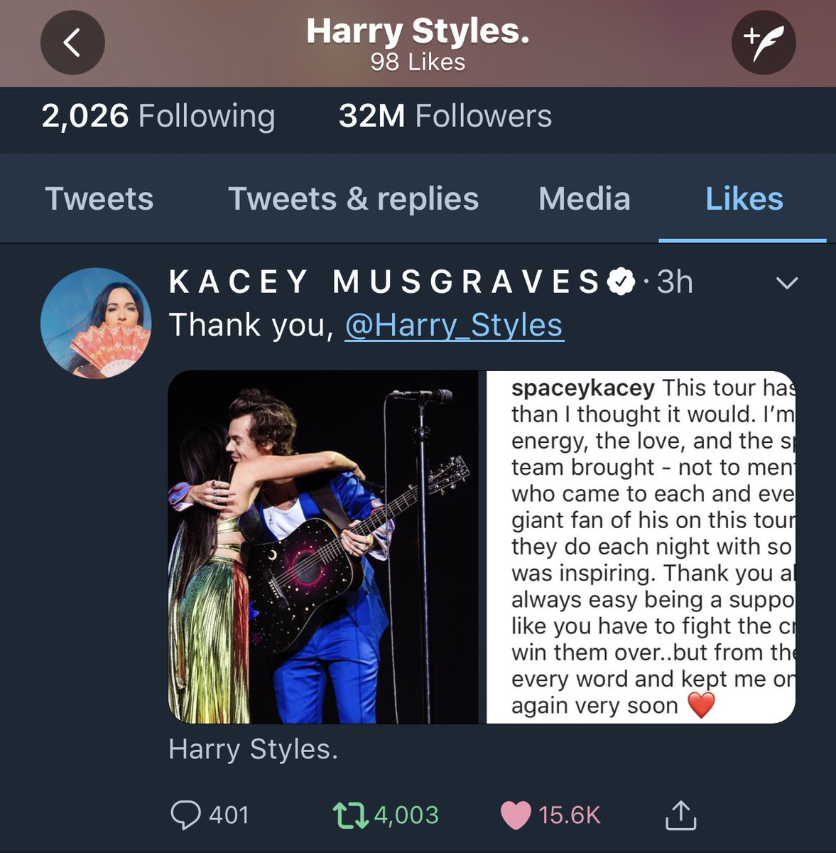 #Twitter   Harry just liked Kacey's tweet!  July 15, 2018 <br>http://pic.twitter.com/mvpoxxuyWX