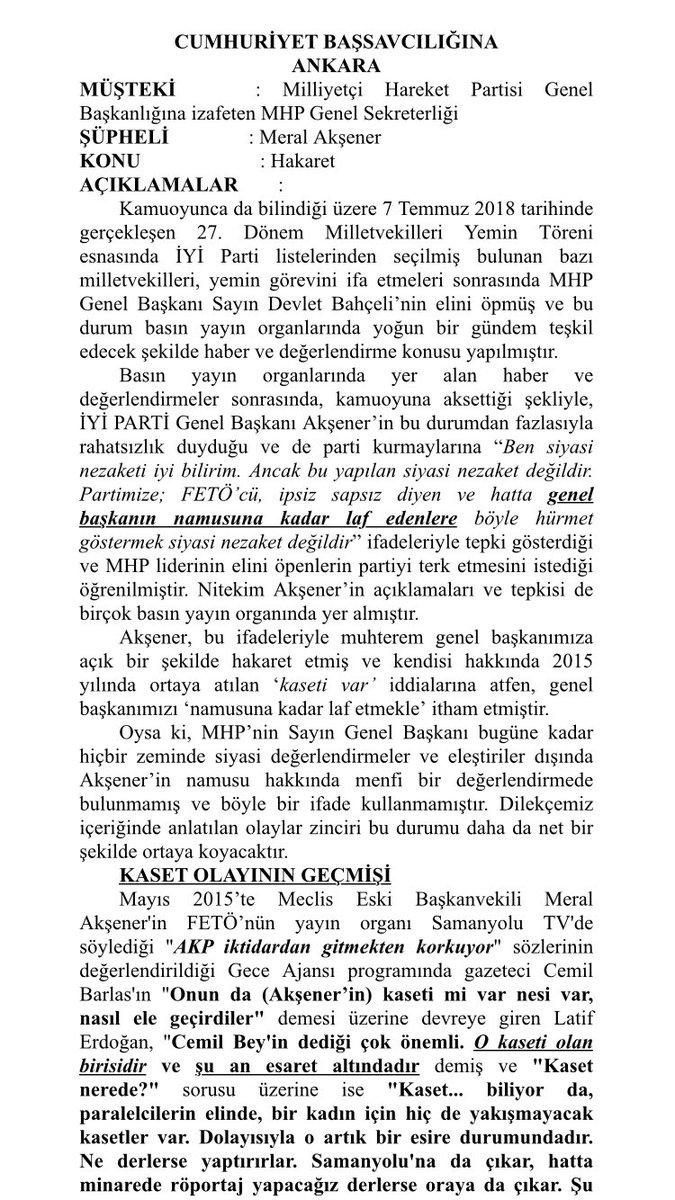 MHP, İYİ Parti Genel Başkanı Meral Akşener hakkında 'hakaret' iddiasıyla suç duyurusunda bulundu.