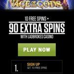Image for the Tweet beginning: 10 #freespins + 90 extra