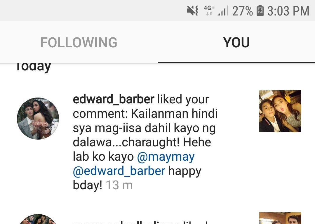 Naku nag-like si baby Edward...ibig sabihin ba nun na nag-agree siya sa comment ko...charaught! Hahaha #MayWard