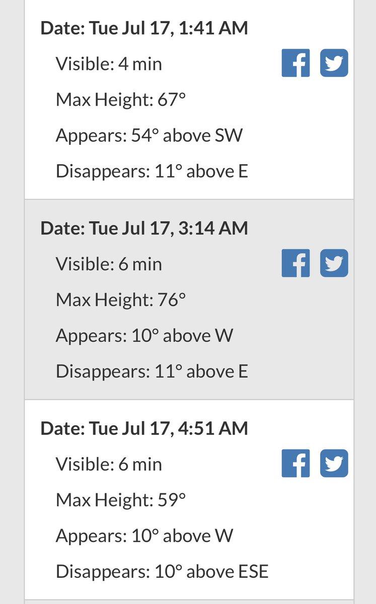 #ISS hell leuchtend am Himmel über Deutschland zu sehen. Hier schon mal die Zeiten von drei Überflügen in der kommenden Nacht. Wie immer gilt: Station zieht als strahlend heller Punkt v West n Ost.