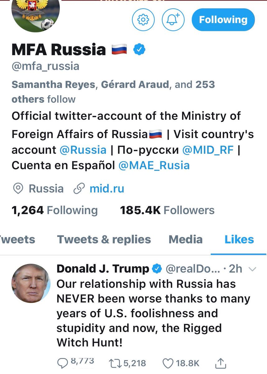 """The Russian Foreign Ministry """"liked"""" the president's tweet, in which Mr.  Trump blamed *the U.S.* for poor U.S.-Russia relations, and faulted *the investigation* into the Russian cyberattack on the U.S. rather than the Russian cyberattack itself."""