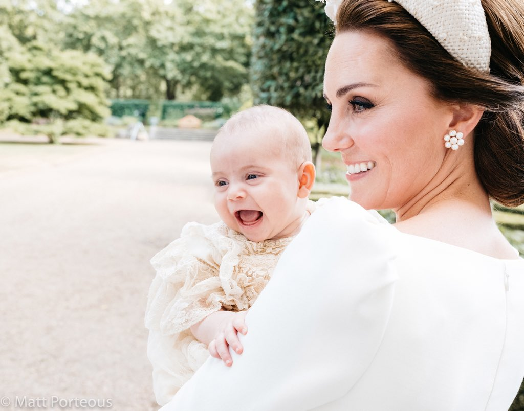 The Duke and Duchess of Cambridge have released an additional photograph taken following the christening of Prince Louis on Monday 9th July. Their Royal Highnesses hope that everyone enjoys this lovely photograph of Prince Louis as much as they do. 📷 Matt Porteous