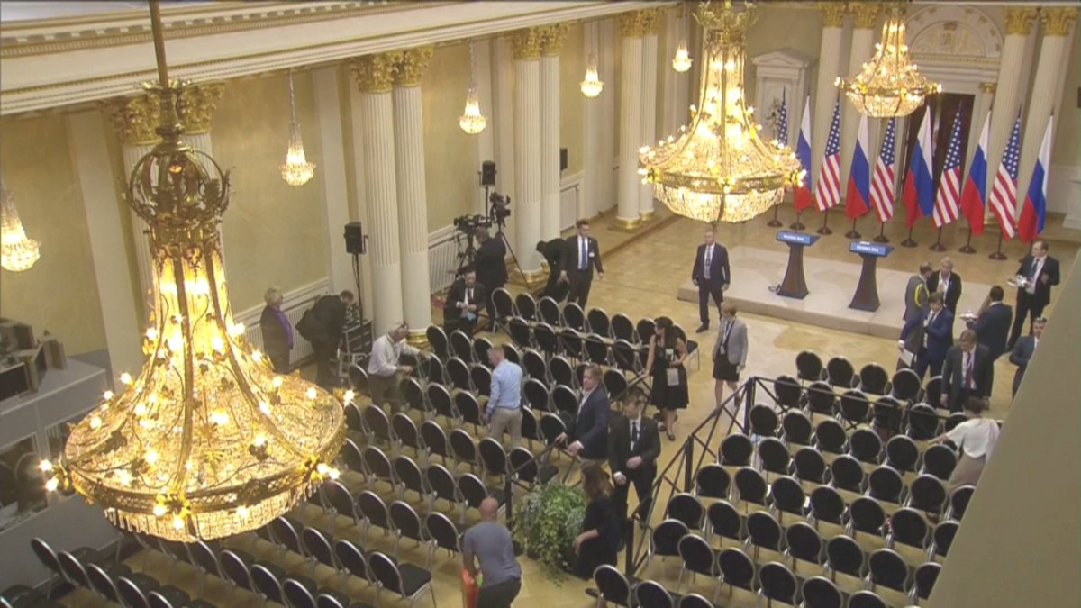 Setting up for Trump/Putin joint press conference on conclusion of their talks.