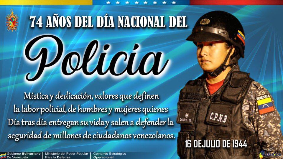 """Felicitaciones en su día a los servidores de la Patria, velando siempre por el bienestar del pueblo venezolano, con valores y ética, para fortalecer día a día la PAZ de la Nación, honrando su lema """"Proteger, Defender y Servir a Nuestro Pueblo"""". Venceremos! #SeguridadPorLaPaz https://t.co/CR0AhRrFpG"""