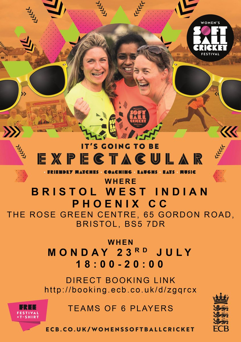 test Twitter Media - More Women's Soft Ball Cricket Festivals on the way...🏏🍾🥂👚☀️🤣👍  Westbury-on-Severn - Sun 22nd - https://t.co/AqdbKlY3JG  Bristol West Indian Phoenix - Mon 23rd - https://t.co/WcOCK7mwwt  #Expect #GoodVibes https://t.co/mq1jUsW6CP
