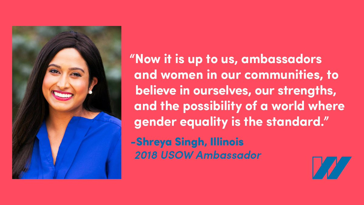 #MondayMotivation from #USOWambassador Shreya Singh from Illinois! 22 women across the country are working to convene local leaders, organizations and engaged individuals to push toward gender equity. Meet our ambassadors and get involved: bit.ly/2zmp4w3