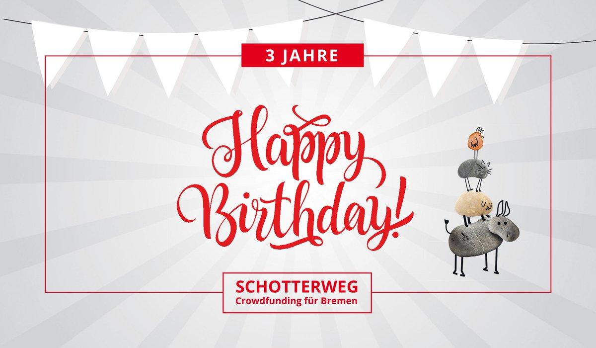 """starthaus bremen's tweet - """"schotterweg feiert geburtstag! 🎉vor"""