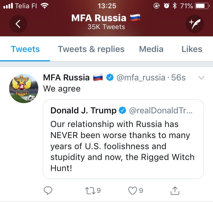 That's really quite brilliant. The Russian foreign ministry chimes in to agree with the US President that it's all America's fault.