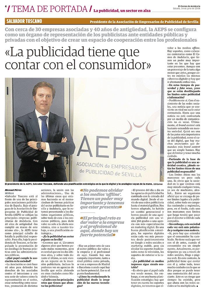 Entrevista al Presidente de la @Aeps_Sevilla, Salvador Toscano publicada en @elCorreoWeb el pasado día 14 de Junio #Publicidad #Sevilla #AEPS #40Aniversario https://t.co/rtVX7aCsGk https://t.co/rya9BzNbLk