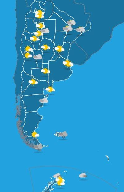 Visitá el pronóstico del tiempo y alertas vigentes en #BuenLunes #SMN 🌤️☀️❄️⚡️ Foto