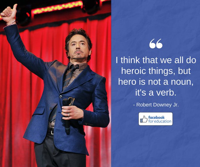 #MondayMotivation from @RobertDowneyJr, an American actor famous for roles like Iron Man and Sherlock Holmes! #HeroMonth 💯 Photo