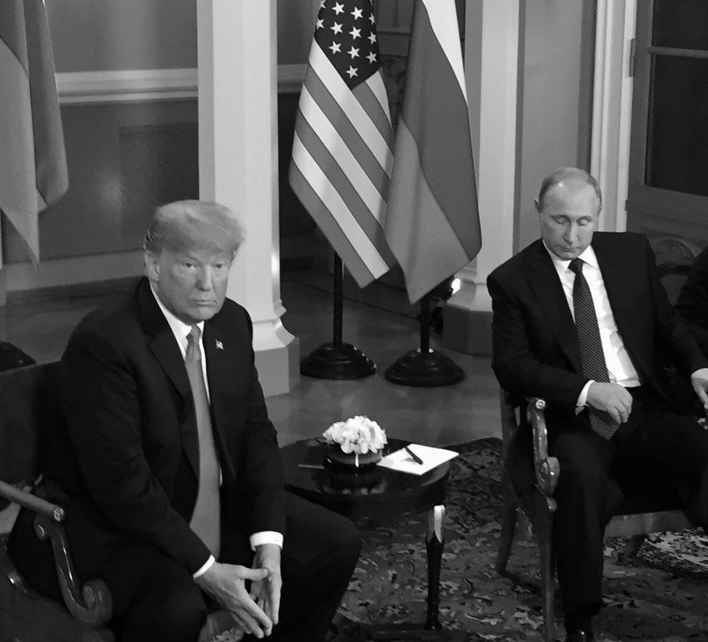 .@POTUS @realDonaldTrump and President Putin sit down for one on one meeting in Helsinki, Finland. #HELSINKI2018 https://t.co/ov0dSnafYB