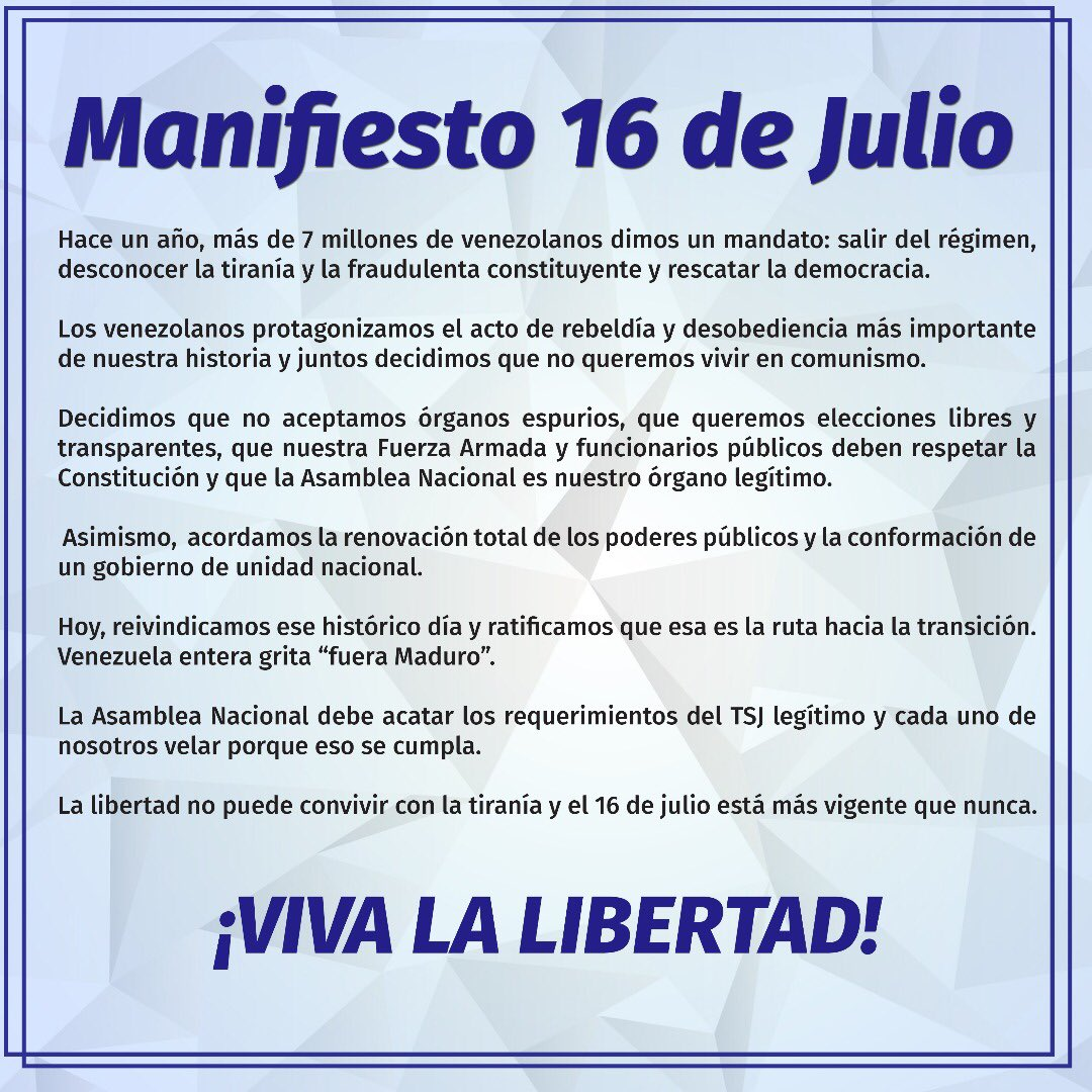 A 1 año del #16J:  1.   fue el acto de desobediencia y rebeldía cívica más grande de la historia  2.  fue un mandato para desconocer la tiranía y avanzar a la Transición   3.  unió a Venezuela en una sola ruta que haremos cumplir:  FUERA MADURO