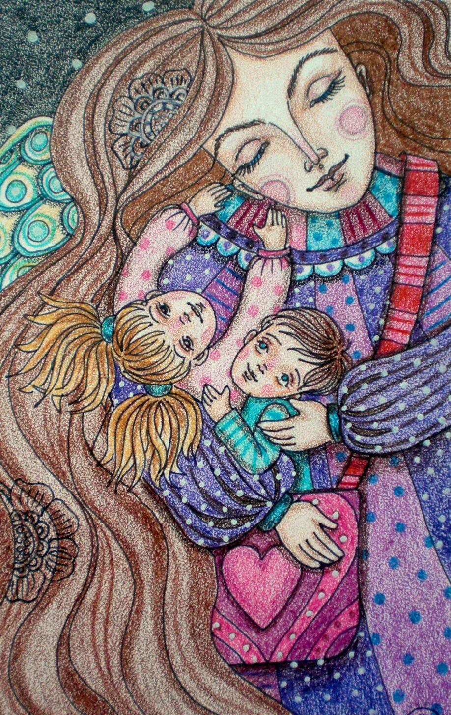Мама с ребенком картинки рисованные