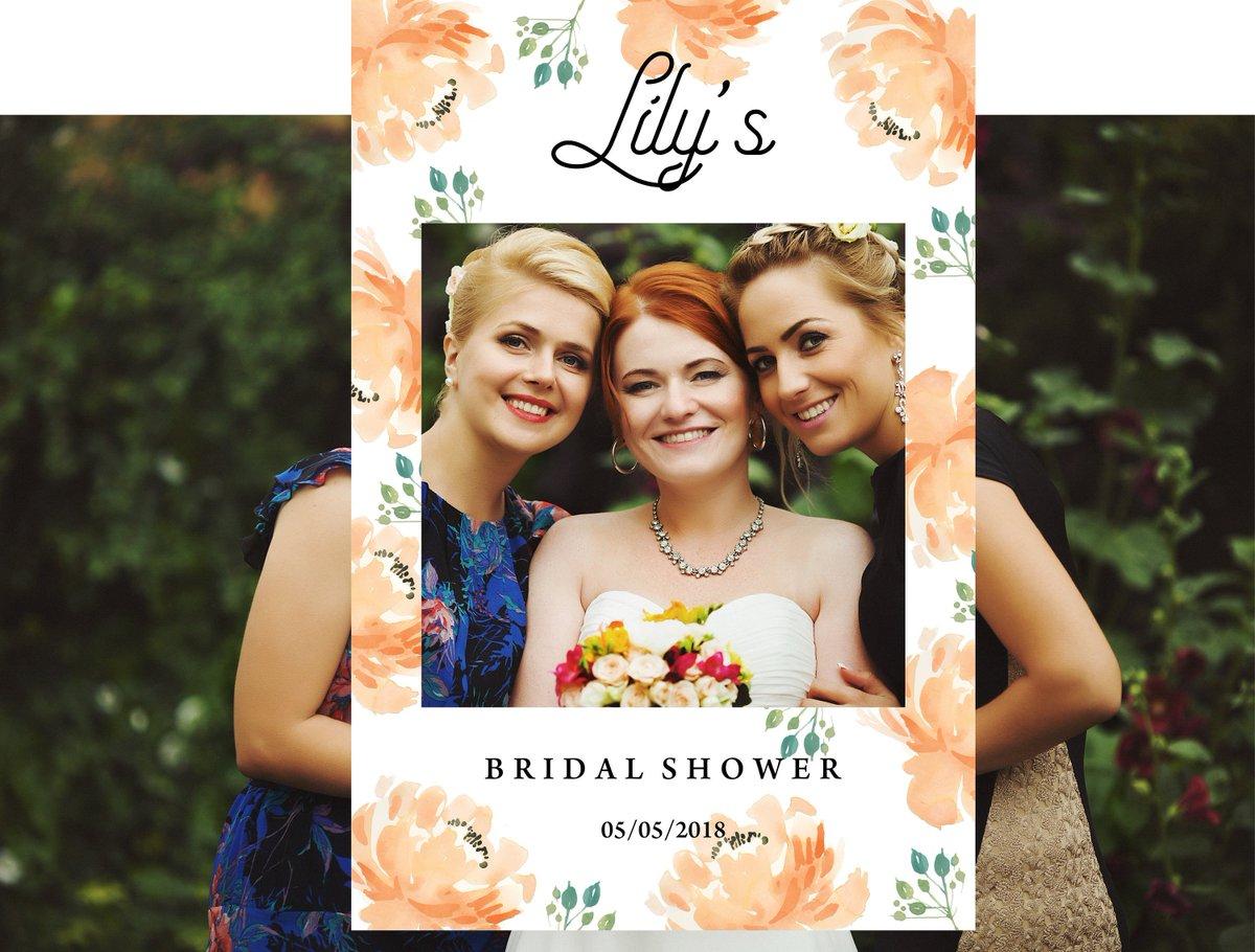 Diz On Twitter Bridal Shower Photo Booth Frame Peach Peonies