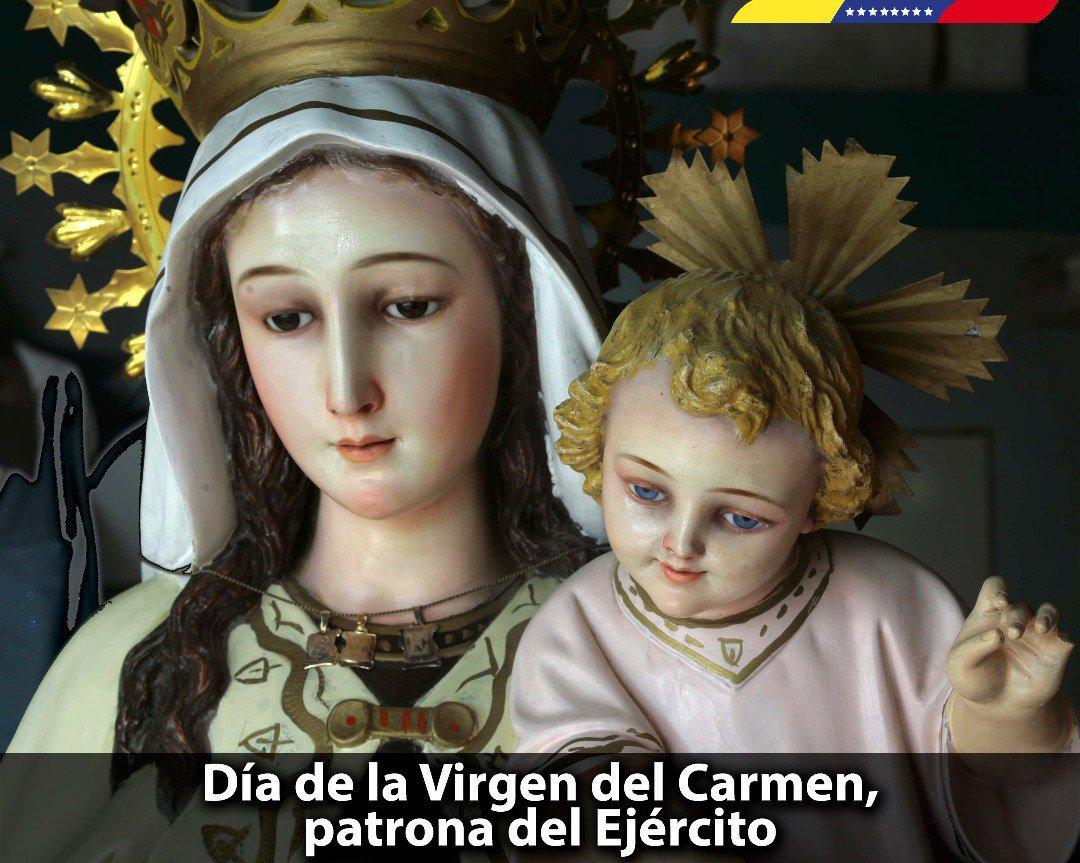 Cada 16 de julio, los venezolanos celebramos con gran devoción el Día de Nuestra Señora del Monte Carmelo, conocida como Virgen del Carmen, patrona de nuestro Ejército Bolivariano. Hoy le pedimos por la paz de todo el pueblo para que derrame sobre nosotros sus bendiciones. https://t.co/kdqlXZkJKf