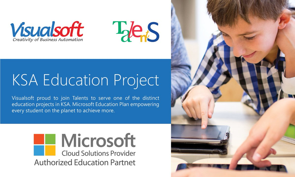 Visualsoft proud to join Talents (@TalentsCenter) to serve one of the distinct education projects in KSA. Microsoft Education (@MicrosoftEDU) Plan empowering every student on the planet to achieve more.