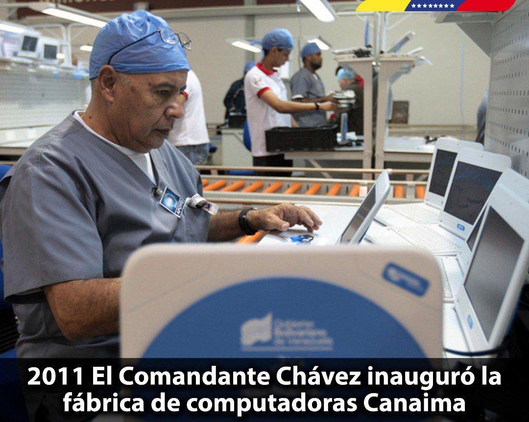 En el marco de la soberanía tecnológica, el Comandante Chávez inauguró hace 7 años, la primera línea de producción de Canaimitas en el país. Proyecto social que ha permitido el acceso de nuestros niños y niñas a las nuevas herramientas tecnológicas para su aprendizaje.