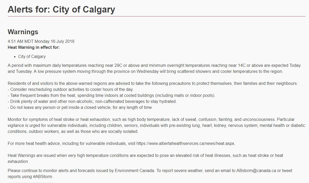 ICYMI: A #HeatWarning remains in effect for #yyc. #hydrate #sunscreen #shade