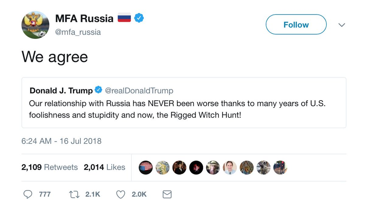Russia's foreign ministry - and Russian media today are thrilled, absolutely thrilled that President Trump is trashing the United States