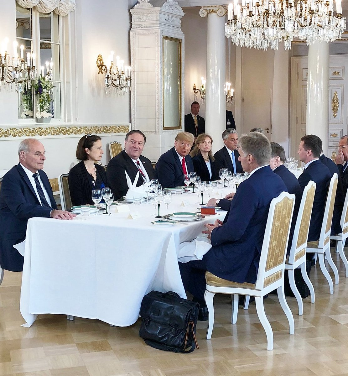 After their one-on-one meeting, Presidents Trump and Putin and delegation members sat down to lunch in the Hall of Mirrors. Asked how their meeting went, 'very good start,' said Pres Trump. (Pool photo by @anniekarni)