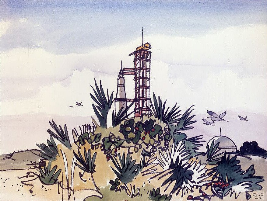 Apollo 11 on the launch pad at Cape Canaveral, July 16, 1969. Painted in watercolor for NASA by Robert McCall. <br>http://pic.twitter.com/KEjQLb7AuL