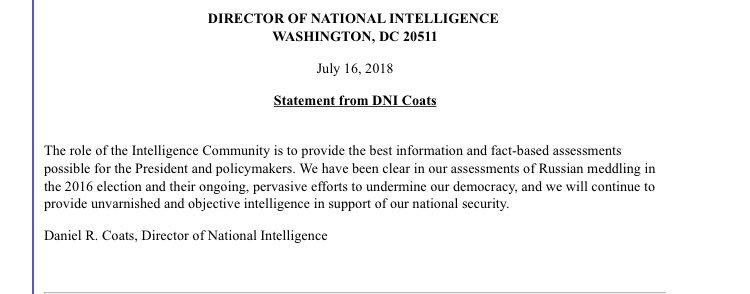 """DNI Coats in statement says intelligence community has """"been clear in our assessments of Russian meddling in the 2016 election."""""""