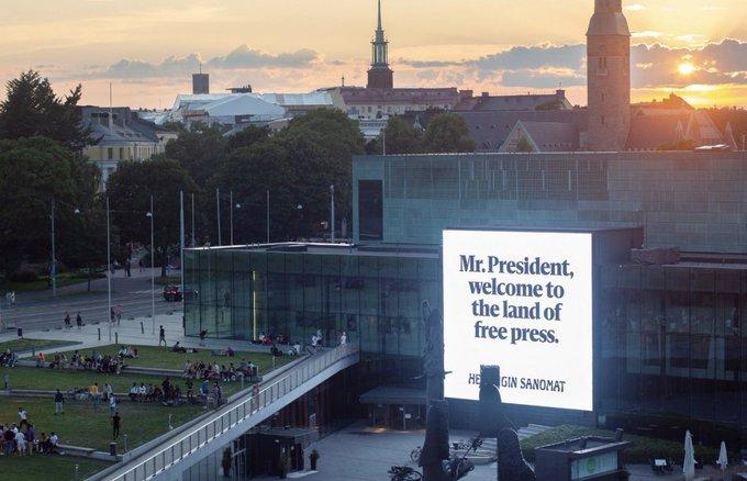 Finnish newspaper welcomes Donald Trump and Vladimir Putin to 'Land of Free Press' Photo