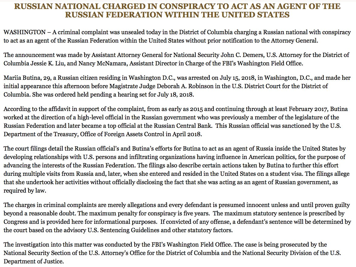 NEW: Russian national charged with 'conspiracy to act as an agent of the Russian Federation within the United States,' DOJ says. https://t.co/P6cO6MBEYW