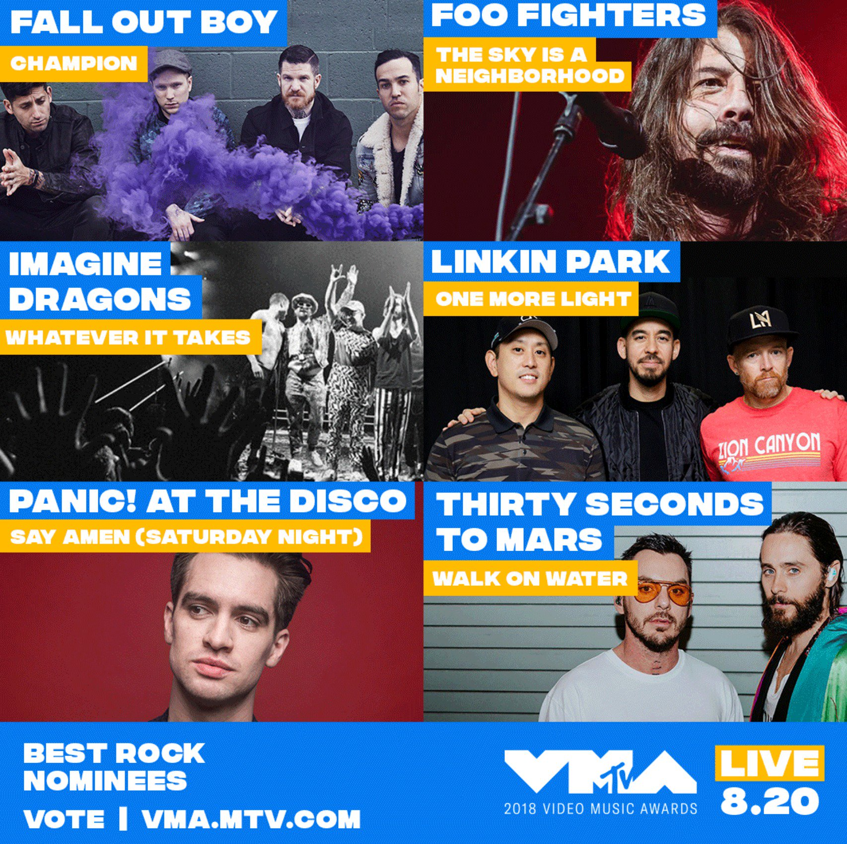 wonder who will come out as the Champion for Best Rock at the #VMAs �� psst, go vote https://t.co/gYx1w2efc7 https://t.co/uu1xiufrA6
