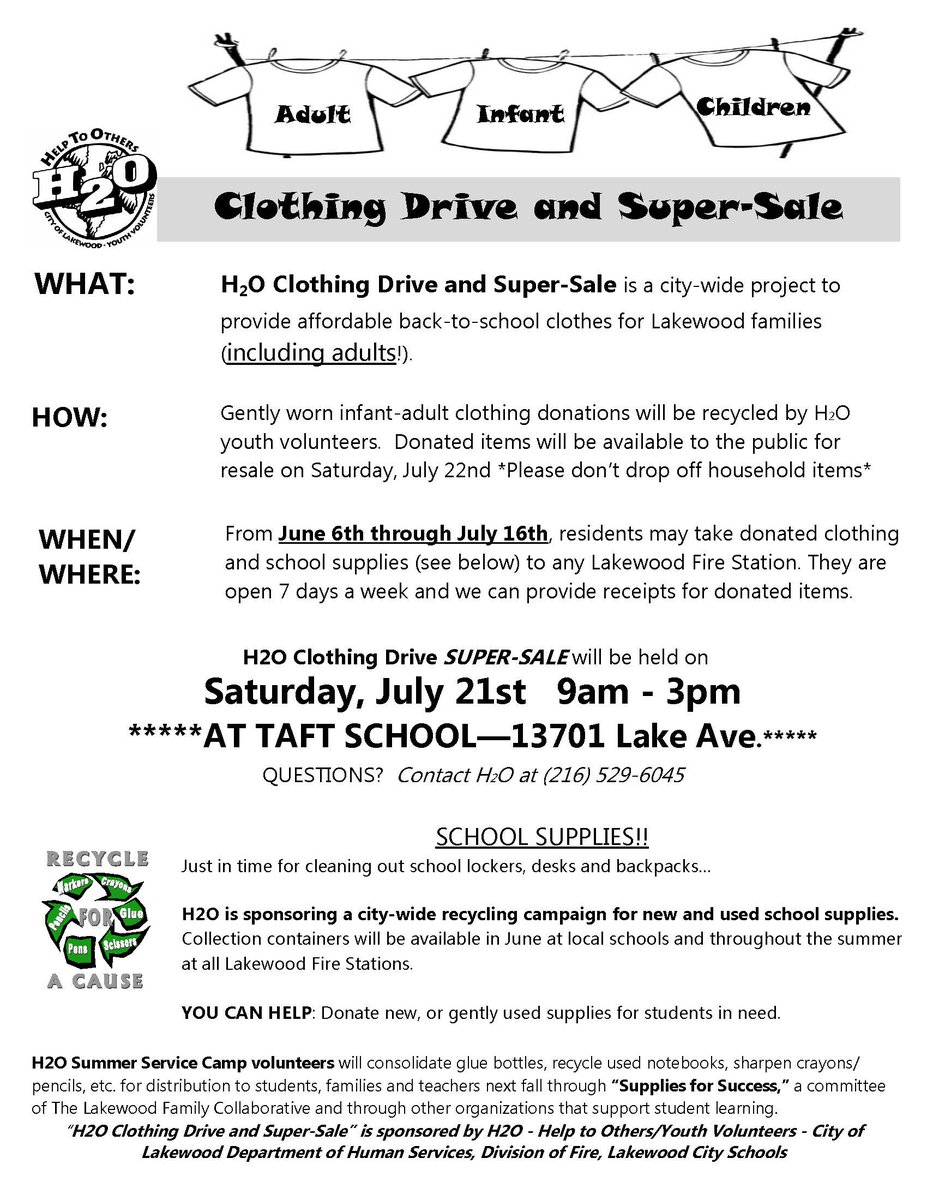 to provide affordable back to school clothes for lakewood families including adults the super sale will be held at taft elementary school from 9am