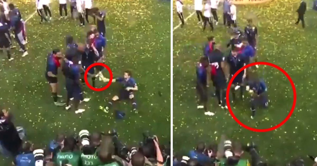 The moment N'Golo Kanté was handed the World Cup by France teammate after being 'too shy' to ask for it - https://t.co/BEYYgml8IG