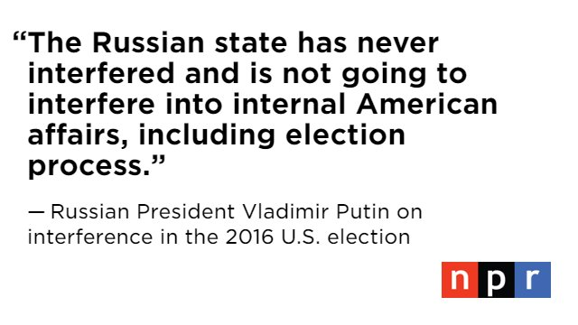 Russian President Vladimir Putin denied that Russia has interfered in U.S. elections.   Watch the joint press conference livehttps://t.co/9zYrrKQgQ1: