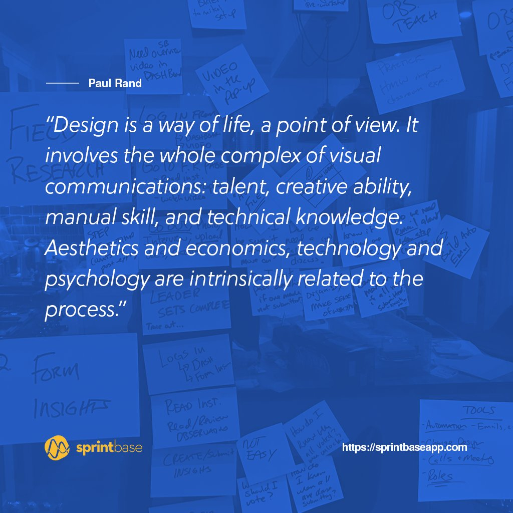 Sprintbaseapp on twitter design is a way of life a point of view creative ability manual skill and technical knowledge aesthetics and economics technology and psychology are intrinsically related to the process altavistaventures Gallery