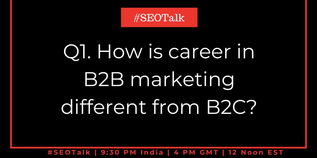 Q1. How is career in B2B marketing different from B2C?  #SEOTalk <br>http://pic.twitter.com/wV9y4hQpC6