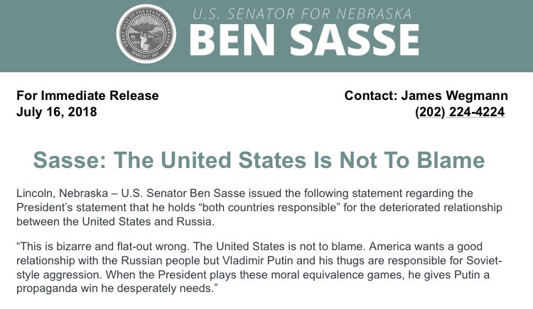 The first GOP statement in my in box from @BenSasse