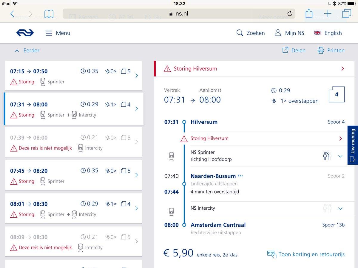 417768cc5a4 Zie voorbeeld hieronder voor vertrek 7:31. Deze reis kan elk half uur.  Overstappen in Naarden-Bussum dus.pic.twitter.com/8zHm9EPMUE